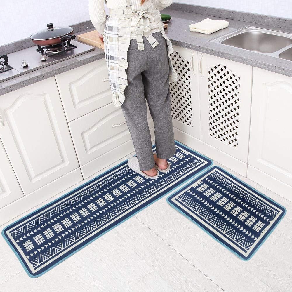Leebei キッチンラグ 2点セット キッチンマット ノンスリップ 洗濯可能 防水 ポリエステル 抗疲労 フロアマット カーペット キッチン/寝室/洗面所用 (15.7×23.6インチ+15.7×47.2インチ)  Blue-indian B07PJPPBKW