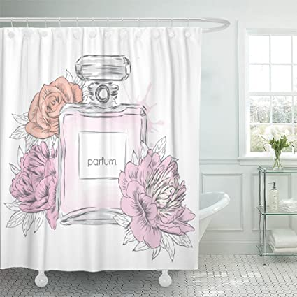 Emvency 72quotx72quot Shower Curtain Waterproof Chanel Perfume Bottle And Flowers Vintage Fragrance Scent