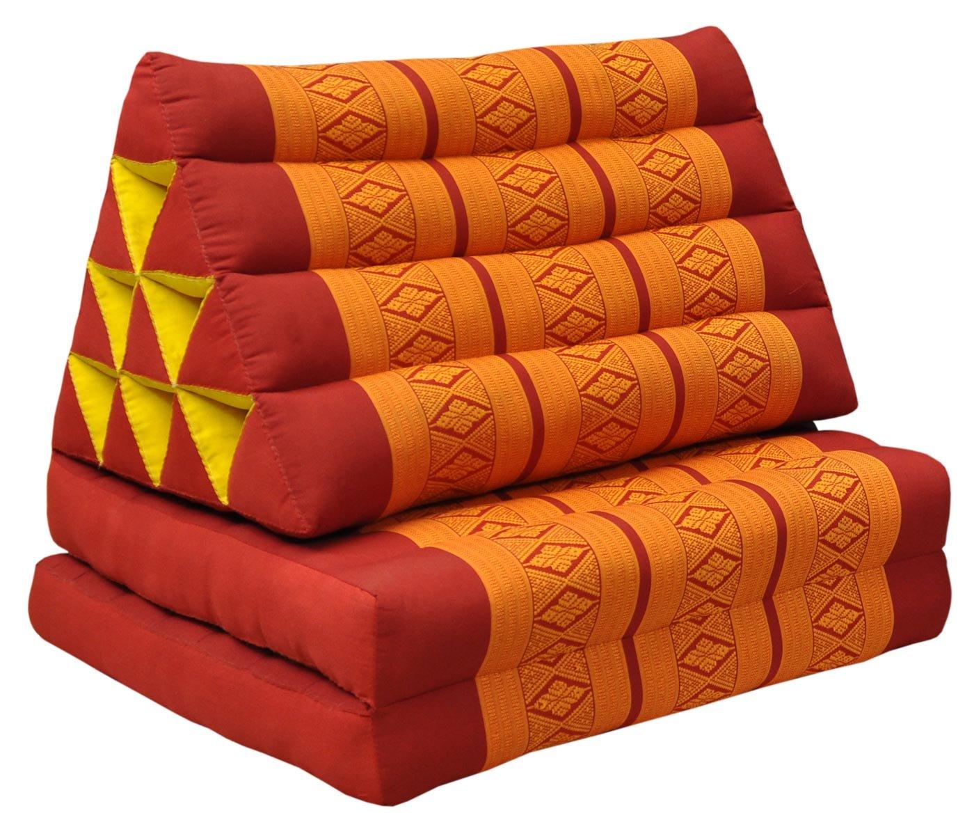 Thai triangular cushion with mattress 2 folds, red/orange, relaxation, beach, pool, meditation garden (81002)