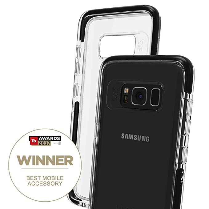 sports shoes 9a353 e68c3 Gear4 Piccadilly Clear Case with Advanced Impact Protection [ Protected by  D3O ], Slim, Tough Design for Samsung Galaxy S8 – Black