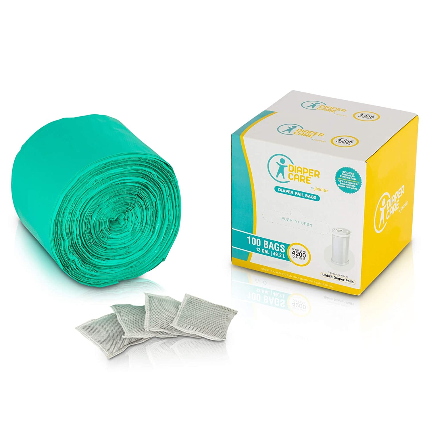 Diaper Pail Bags Compatible with Ubbi Baby Diaper Pails – (100 Count) – Plastic Garbage Refill Liners for Use with Most Home Garbage Trash Disposal Bins – Bonus 4 Bamboo Odor Eliminator Bags