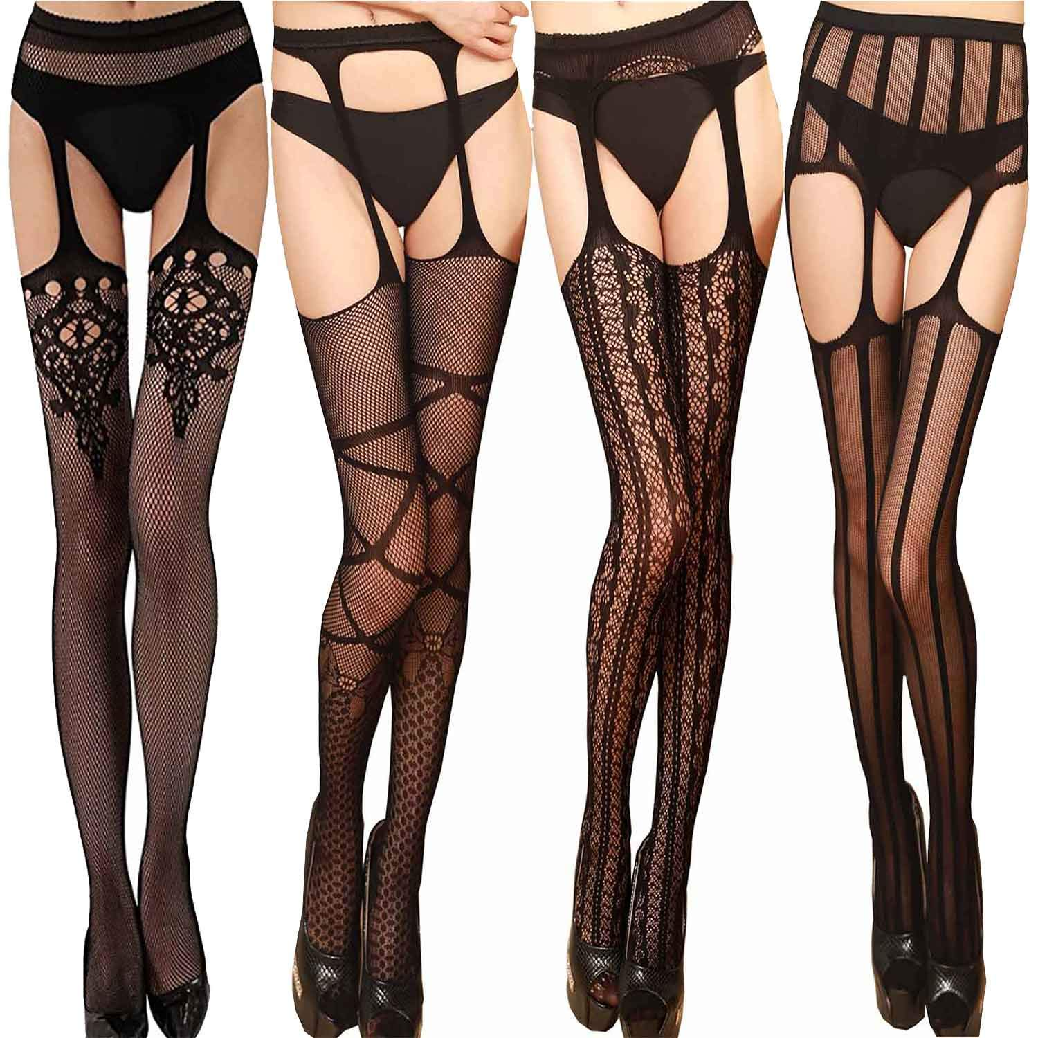 Vivilover Women's Suspender Pantyhose Fishnet Stocking with Designs (Height: 5'5'' - 5'11'' / Weight: 100-180lbs, Style A 5pairs)
