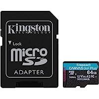 Kingston SDCG3/64 GB micro SD-kaart (64 GB microSDXC Canvas Go Plus 170R A2 U3 V30 met SD-adapter)