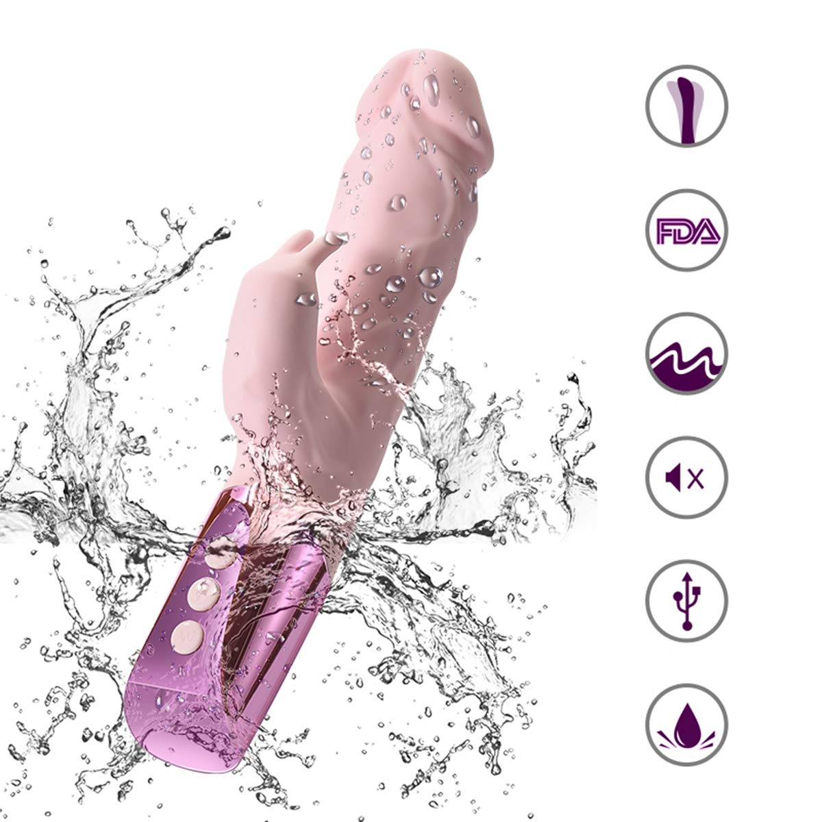 Haiya 30 Speed Large Rabbit Dildo Vibrator Dual Strong Stimulation G Spot Clit Vibrator Female Masturbator