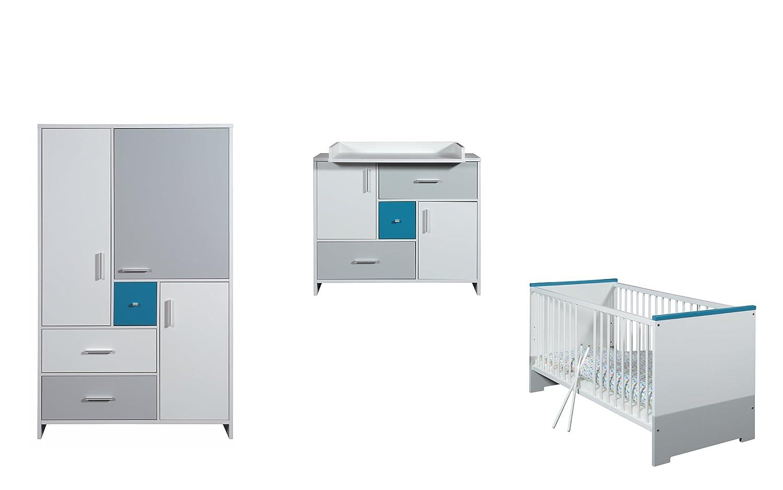 Schardt Kinderzimmer Candy Blue bestehend aus Kombi-Kinderbett, Umbauseiten, Wickelkommode, 3-türiger Kleiderschrank