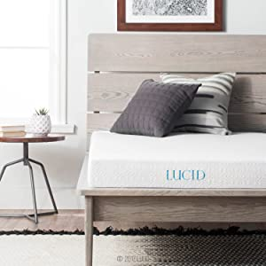 LUCID 5 Inch Gel Memory Foam Mattress - Dual-Layered - CertiPUR-US Certified - Firm Feel - Full XL Size