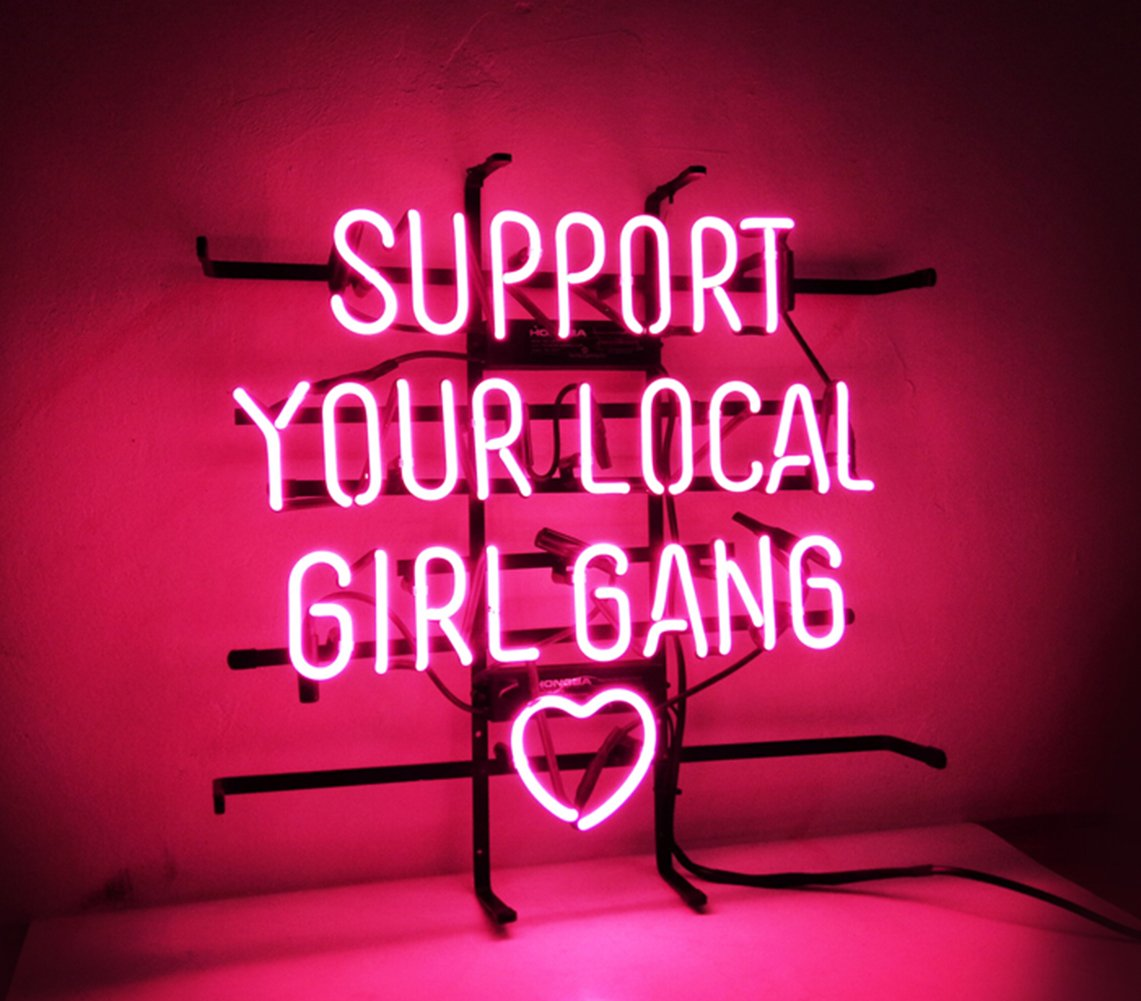 New Custom Neon Sign Pink Room Decor 'Support Your Local Girl Bang' for Bedroom Bar Beer Pub Home Hotel Beach Bar Garage Cocktail Recreational Game Room 18'' x 16'' by KUKUU (Image #2)