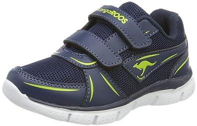 KangaROOS Unisex-Kinder Korro Sneaker, Blau (Dk Navy/Lime), 33 EU