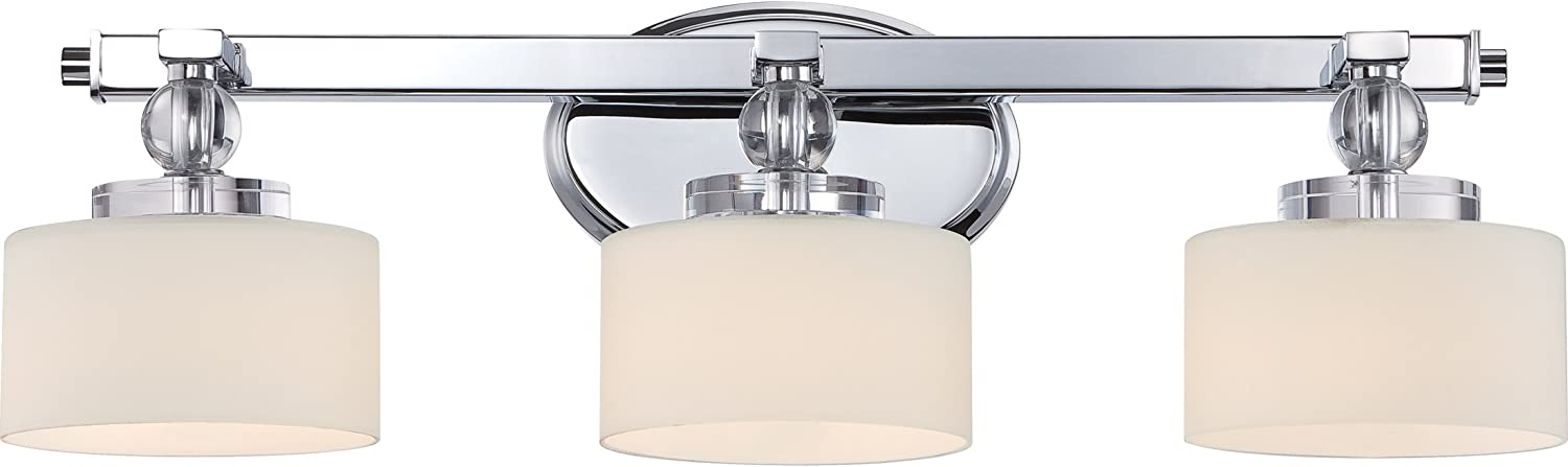 Quoizel DW8603CLED Downtown Glass Ball Vanity Bath Lighting, 3-Light, LED 13.5 Watts, Polished Chrome 8 H x 25 W