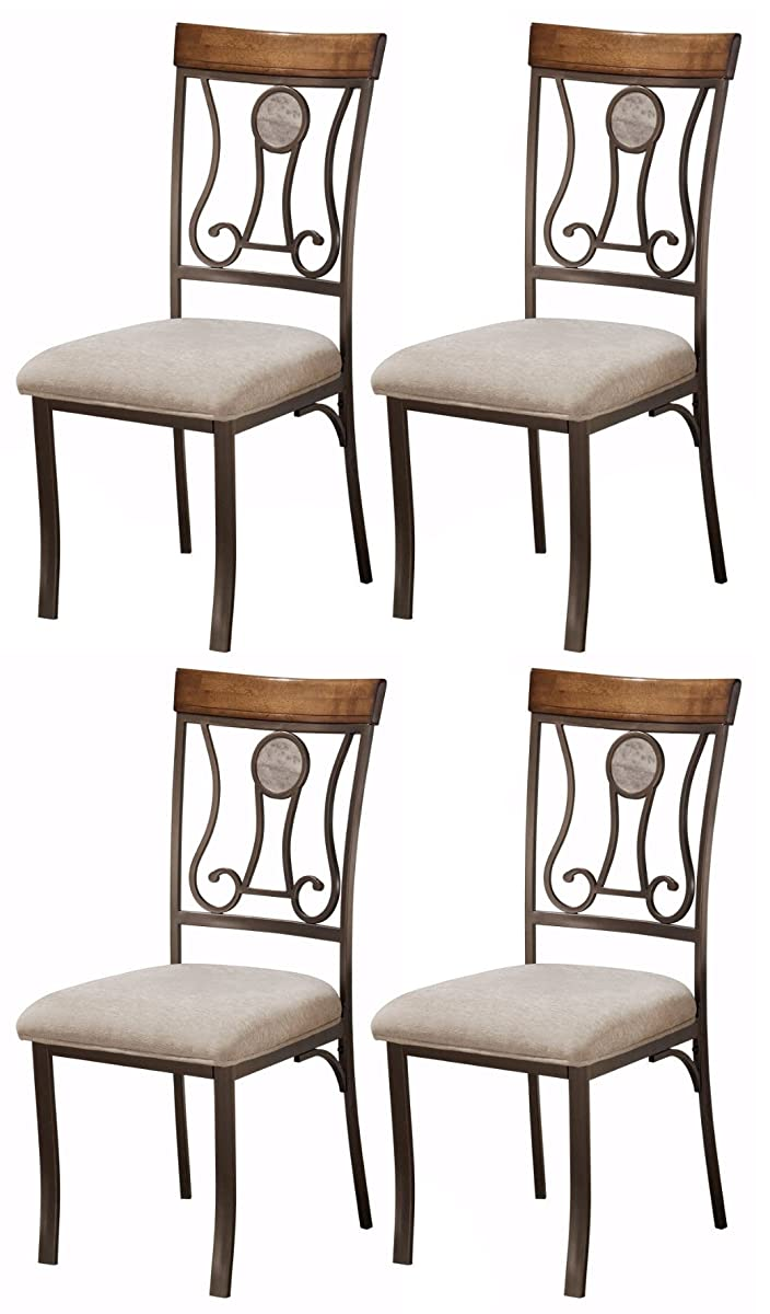 Ashley Furniture Signature Design - Hopstand Dining Room Side Chair - Harp Back - Set of 4 - Brown