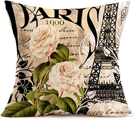 "18/"" Rose Floral Garden Pillow Case Sofa Waist Cushion Cover Decorative Covers"