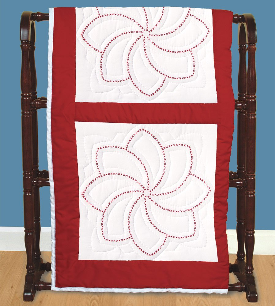 6-Pack Jack Dempsey Stamped White Quilt Blocks Pinwheel 18 by 18-Inch