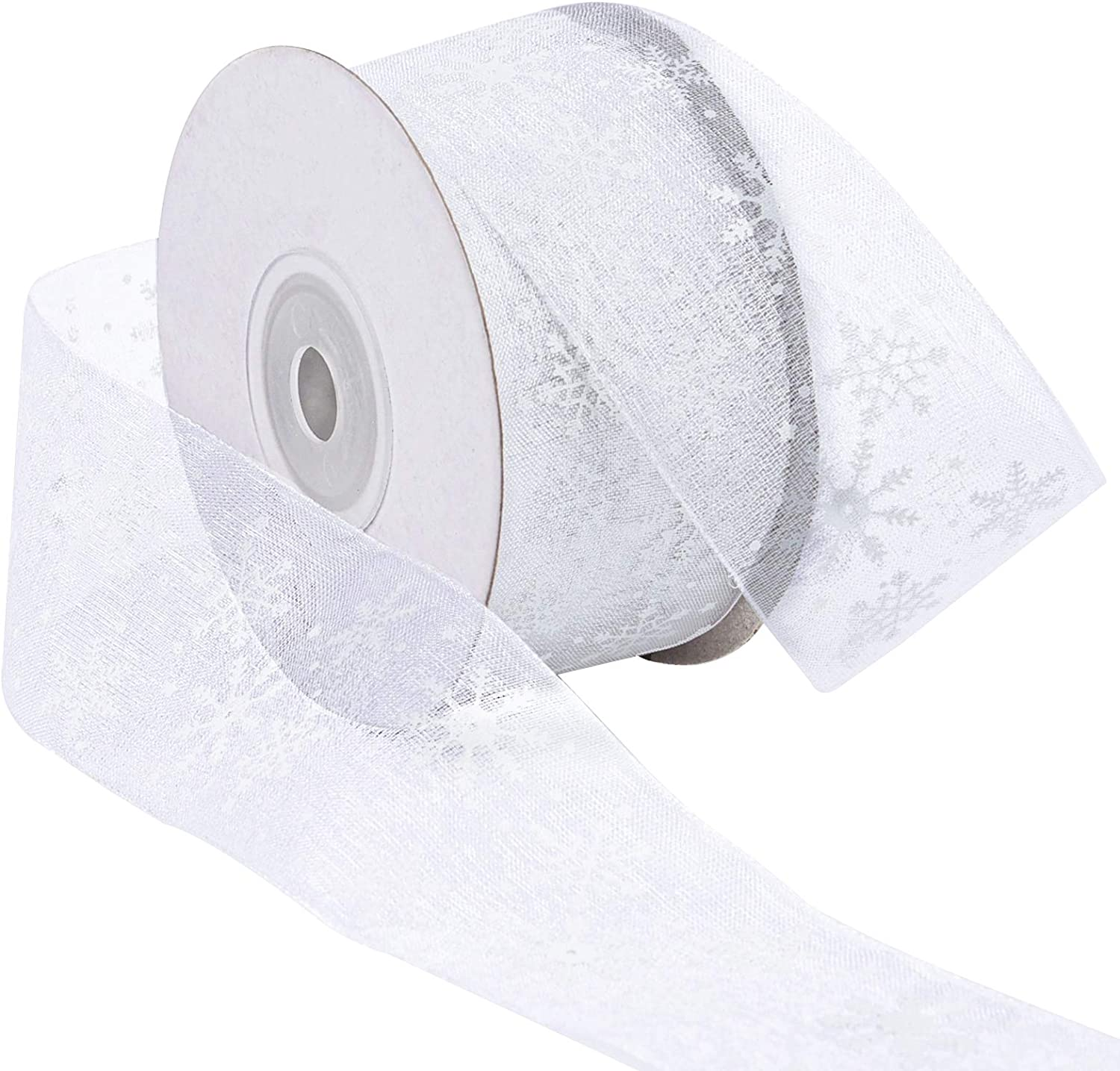 Livder 1.6 Inch Wide Christmas Snowflake Sheer Organza Ribbon for Xmas Gift Wrapping, Tree, Wreath, Party Decoration, 25 Yards (White)