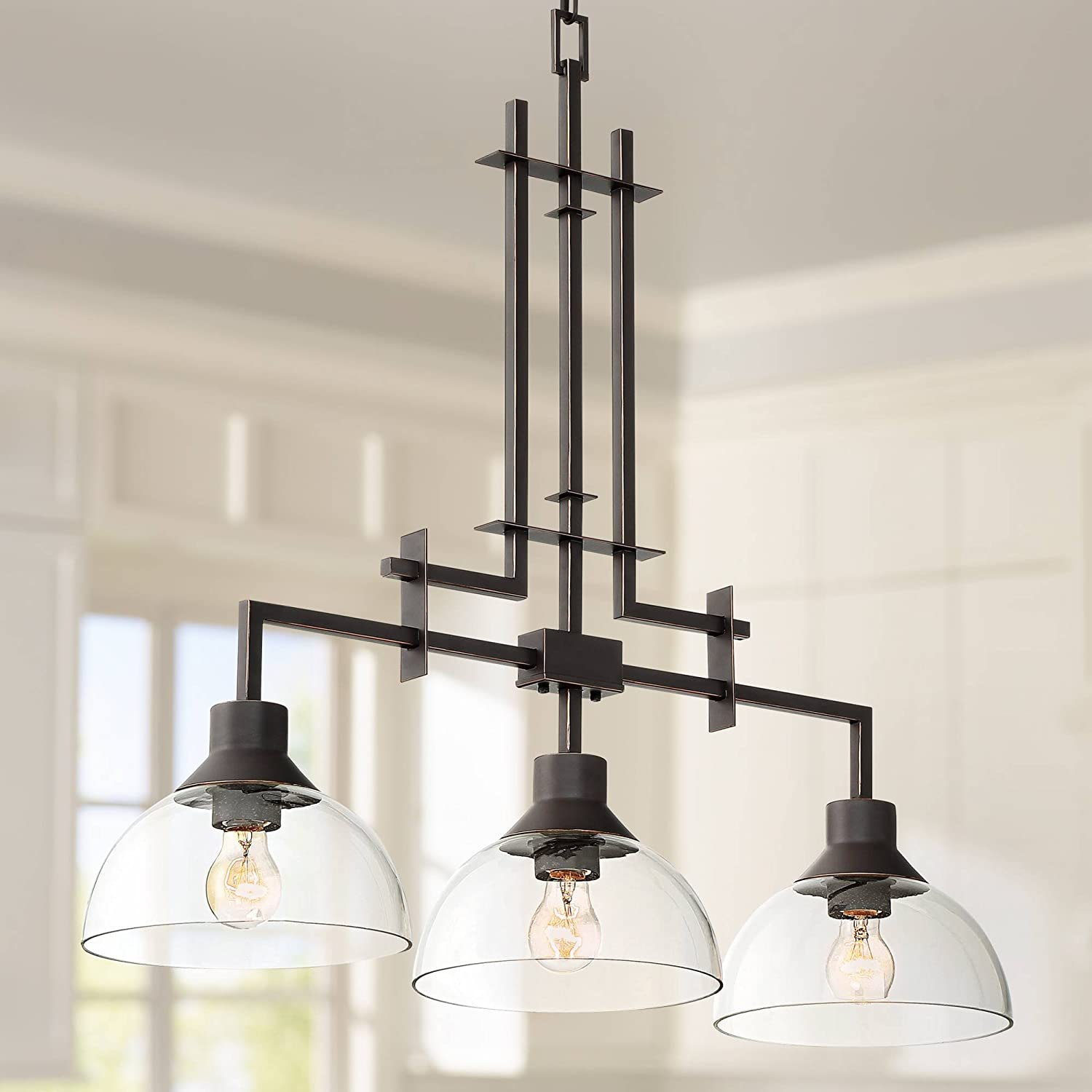 Metro 32 W Bronze and Clear Glass 3-Light Island Chandelier – Franklin Iron Works