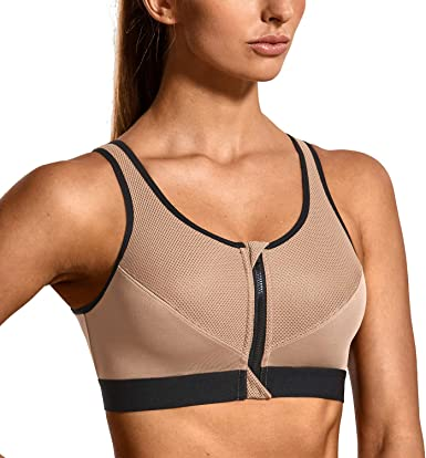 SYROKAN Front Zip Sports Bra Padded High Support Workout Bra