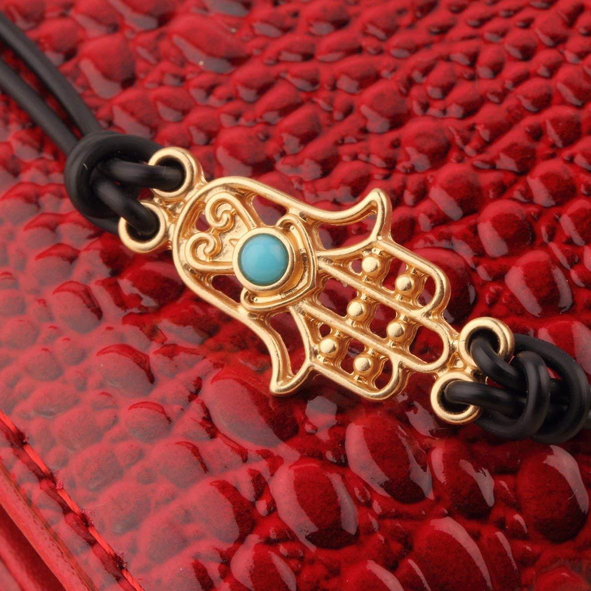 Noradtjcca Bijoux Bracelet en Cuir Plaqu/é Or Ton Charm Hamsa Main Bonne Chance Mauvais Oeil Corde Bracelet pour Femmes