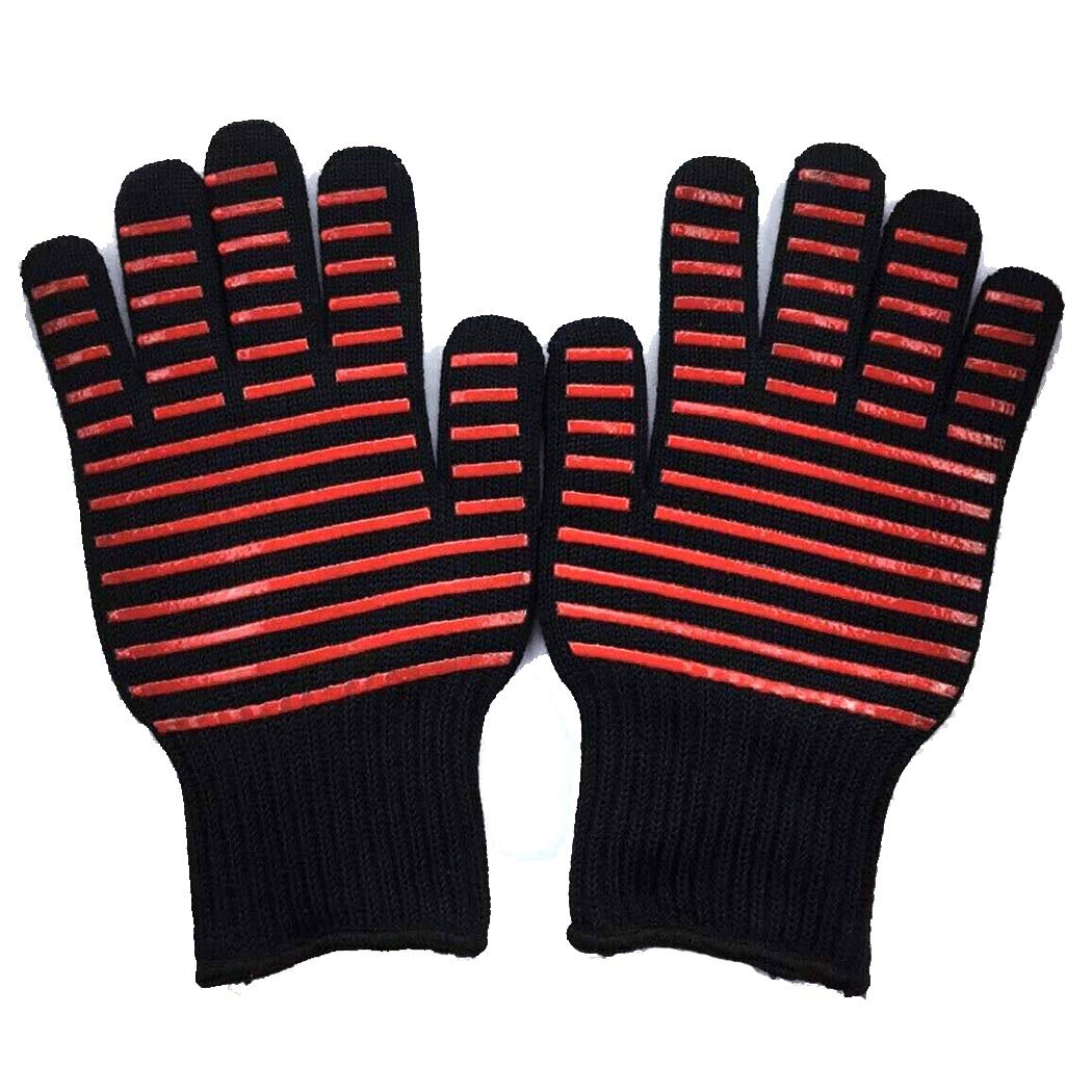 Barbecue Cooking Gloves 500 °C High Temperature Oven Gloves for Cooking, Barbecue, Baking Black 26cm (one Pair) (Color : Black, Size : 26cm)