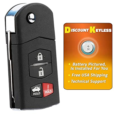 Discount Keyless Car Remote Entry Replacement Uncut Flip Ignition Key Fob for Mazda 6 RX-8 KPU41788: Home & Kitchen