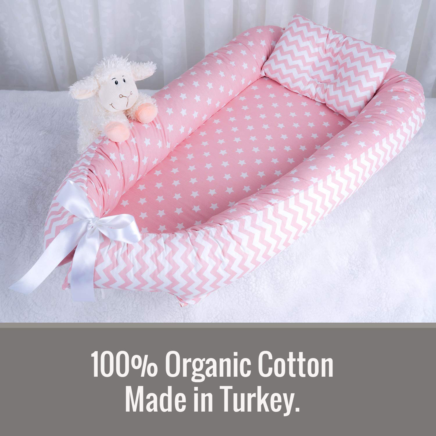 Baby Nest and with Bed Head Shaping Pillow 100/% Organic Soft Cotton Newborn Lounger Portable Crib Baby Bed for Travel and Co-Sleeping 0-12 Month Pink Baby Lounger Made in Turkey