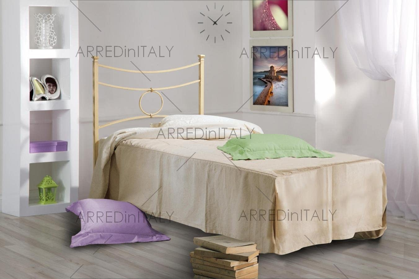ARREDinITALY Cama Individual de Hierro Color Marfil con ...