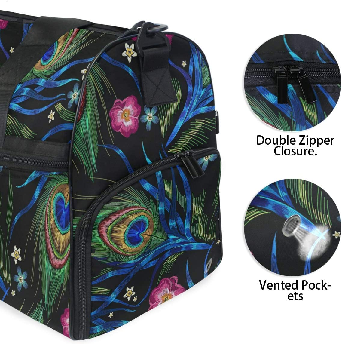 Peacock Feathers And Roses Flowers Sports Gym Bag with Shoes Compartment Travel Duffel Bag for Men and Women
