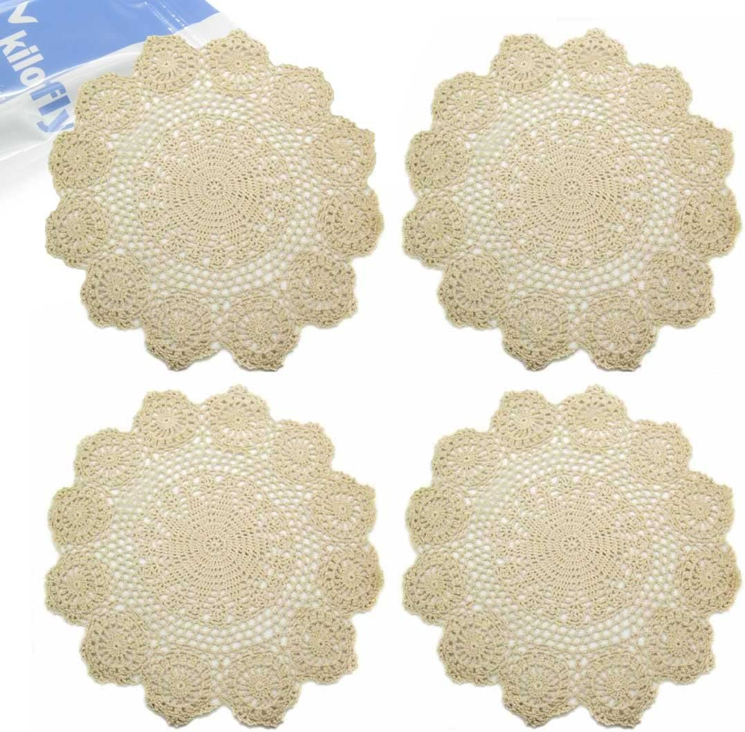 kilofly Handmade Crochet Round Cotton Lace Table Placemats Doilies Value Pack [Set of 4], Lotus, Beige