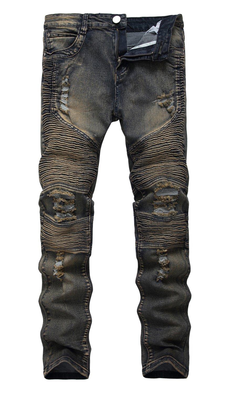 NITAGUT Men's Ripped Destroyed Distressed Slim Fit Jeans Biker Jeans Copper Grey US 32