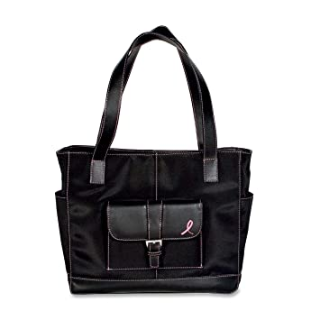 Amazon.com: Day-Timer Pink Ribbon Black Microfibre Tote Bag ...