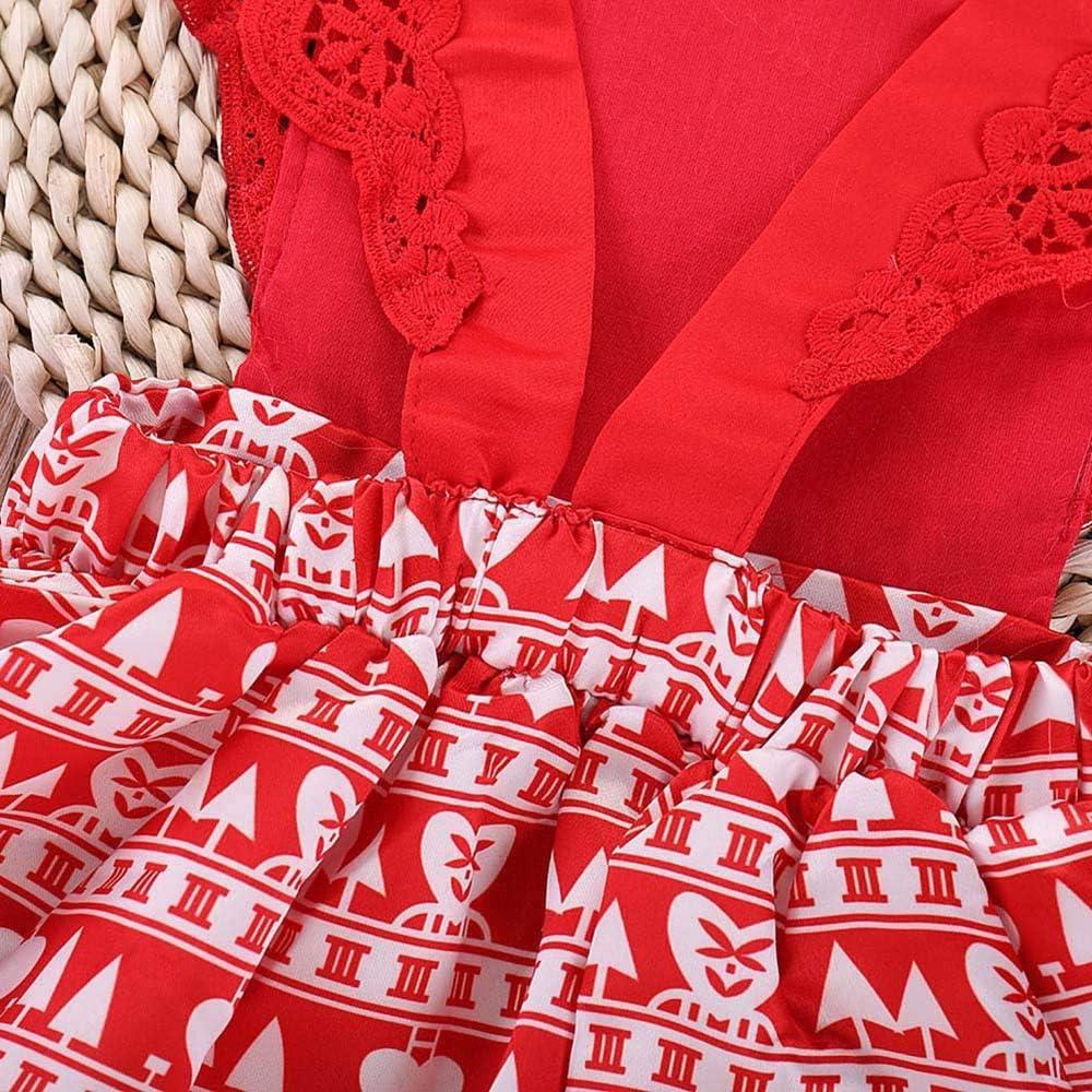 Fartido Christmas Children Xmas Outfit Set Kids Girls Party Red Tutu Dress+Headbands