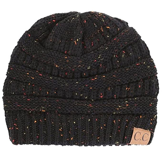 ScarvesMe CC Beanie Cable Knit Confetti Beanie Thick Soft Warm Winter Hat -  Unisex (Black f881432ea9f