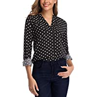 Aranmei Womens Long Sleeve Polka Dot Shirts V Neck Button Down Blouse Tops with Pocket