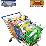 Trolley Bags, Pack of 4, Quality Shopping Bags Include Cooler Bag & Egg/Wine Holder, Easily Bag Groceries from Cart, Sized for Most American Grocery Carts - Detachable, Foldable & Reusable