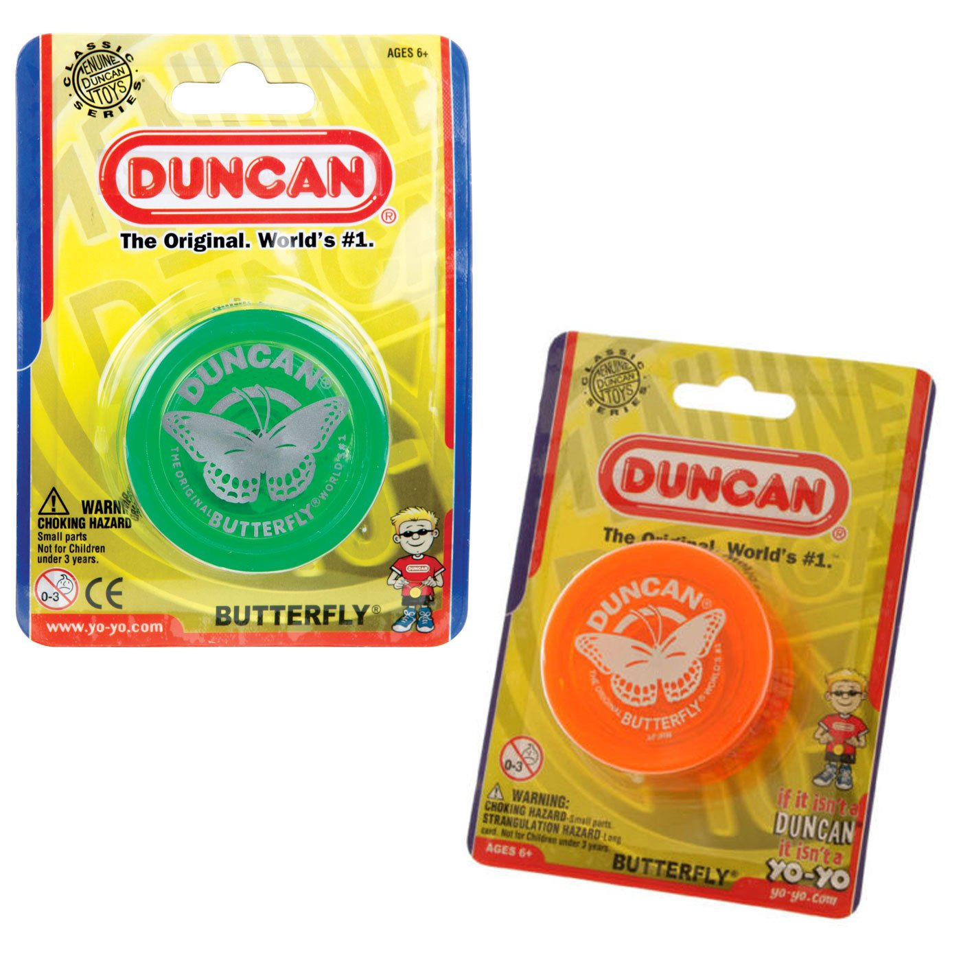 Duncan Butterfly Yo-Yo Orange and Green Two pack