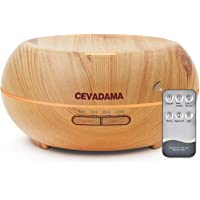 Cevadama 500ml Aromatherapy Essential Oil Diffuser Wood Grain Ultrasonic Cool Mist Humidifier with 7 Color LED Lights Waterless Auto Shut-Off