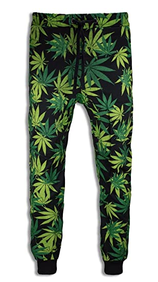 Men Weed Joggers Black Green Pants Fleece Elastic Waist Stretch Jogger Trousers (M, D)