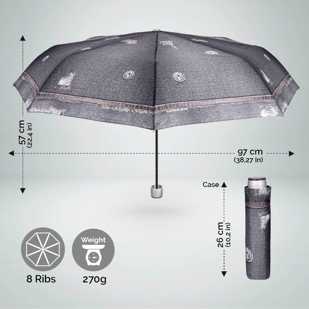 Diam/ètre 97 cm L/éger Compact et Resistant au Vent Parapluie Pliant Femme Impression Denim Noir Perletti Time Mini Parapluie Pliable