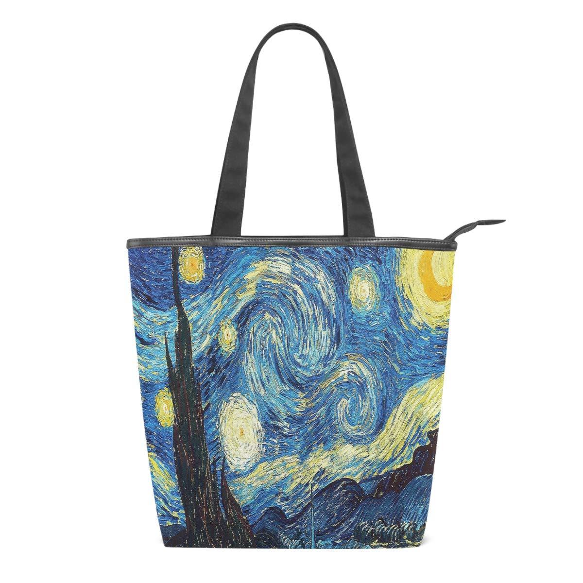 Van Gogh The Starry Night Women Canvas Tote Bag Galaxy Blue Girls Large School Book Shoulder Handle Shopping Laptop Organizer/Bags Handbag for Schools Beach Travel Work Gym Daily Use