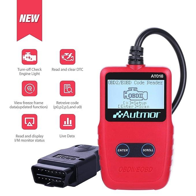 Autmor OBD II Auto Diagnóstico de Coches OBD2, OBD Lector de Código con Pantalla LCD Escáner de Códigos de Vehículos para Lecturar y Borrar de DTC, ...