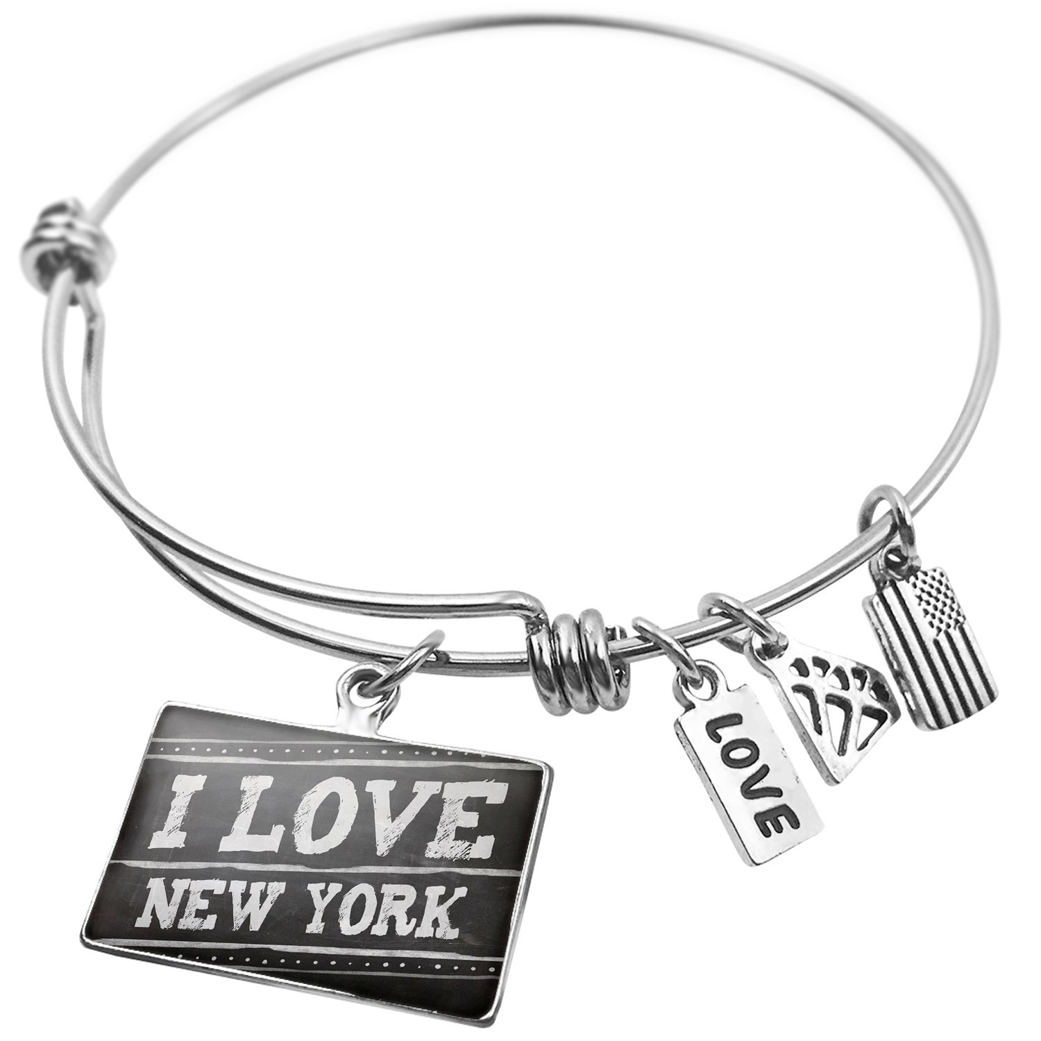 NEONBLOND Expandable Wire Bangle Bracelet Chalkboard with I Love New York