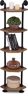 Ivinta Industrial Wall Mount Pipe Shelves, 5-Tier Corner Shelf with Solid Wood, Corner Bookshelf Display Stand,Metal Standing Bookcase (5-Tier)