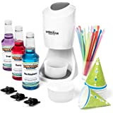 Shaved Ice Machine and Syrup Party Package | Includes S900 Shaved Ice Machine, 3 Ready-To-Use Pints of Syrup, 25 Snow Cone Cups, 25 Spoon Straws, 3 Black Bottle Pourers, & 2 Round Block Ice Molds