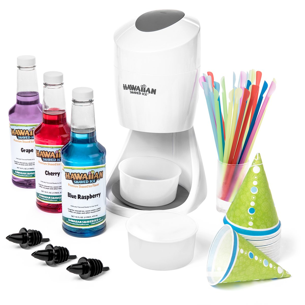 Hawaiian Shaved Ice S900A Shaved Ice and Snow Cone Machine with 3 Flavor Syrup Pack and Accessories by Hawaiian Shaved Ice