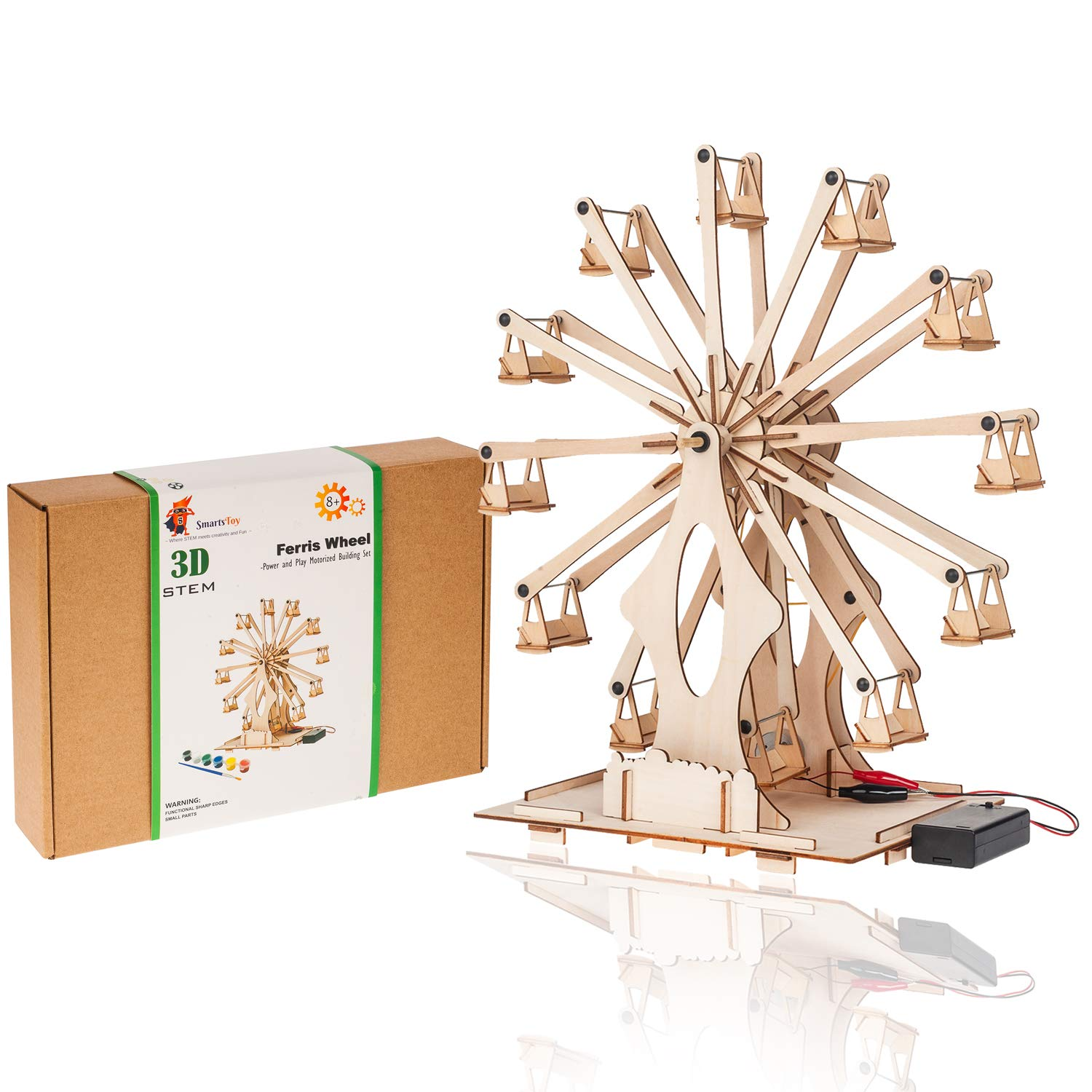 Wooden Ferris Wheel Building Kit | Educational DIY STEM Toys for Boys and Girls | 3D Working Construction Model Kits | Science Kits for Kids, Teens & Adults by Smartstoy