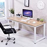 Popamazing Modern Brown Wood Computer Desk Home Office Metal Frame Laptop Table PC Workstation