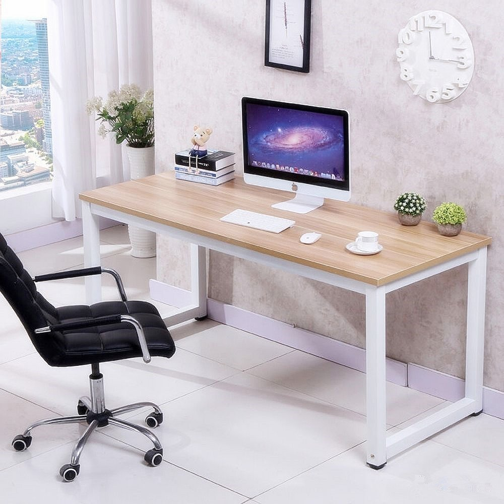 office computer desk. Tinkertonk Modern Brown Wood Computer Desk Home Office Metal Frame Laptop Table PC Workstation