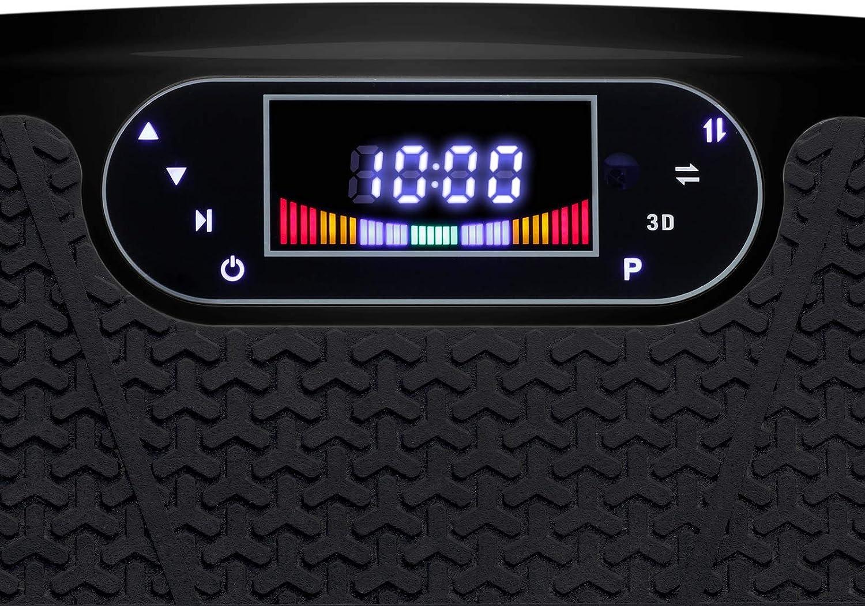 VibroSlim Plateforme Vibrante Fitness Enceintes Compteur de Calories Inclus. Machine Fitness 4 programmes pr/ér/égl/és // 180 r/églages de Vitesse 2 Moteurs int/égr/és 200W Bluetooth