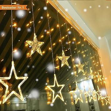 Weihnachtsdeko Lichterketten Außen.Led Lichterkette Lichterketten Aussen Fensterdeko Weihnachtsdeko Party Deko Lichterketten Netz Batteriebetrieben 12 Sterne 138 Leuchtioden