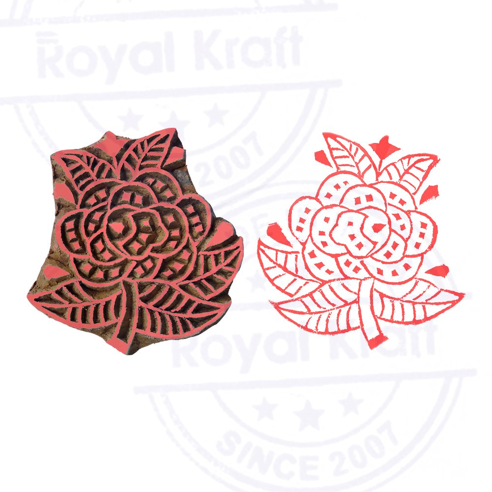 Attractive Floral Pattern Leaf Wooden Block Printing Stamp DIY Henna Fabric Textile Paper Clay Pottery Block Printing Stamp