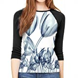 Womens Floral Leaves Bird Tree Print 3//4 Sleeve Crew Neck Top Tshirt