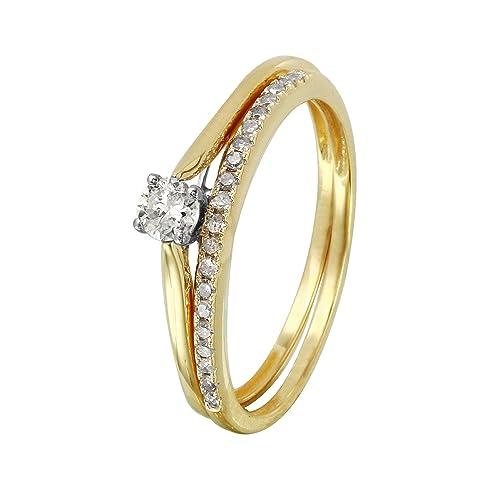 Anillos de boda de oro amarillo de 14 quilates con diamante natural de 0,27